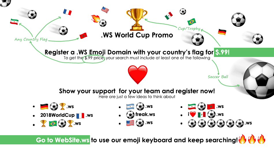$0.99 registration promotion for 2018 World Cup